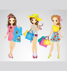 Fashion Girl Friends Do Shopping vector image vector image