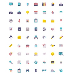 Flat business and office icon set vector image vector image