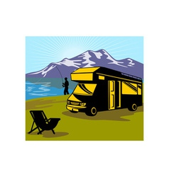 Fly fisherman fishing mountains camper van vector