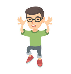 Funny caucasian boy in glasses teasing with hands vector