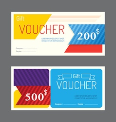 Gift voucher coupon template design paper label vector