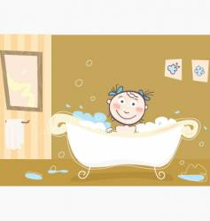 girl bathing vector image vector image