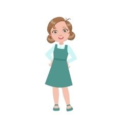Girl in blue dress happy schoolkid in school vector