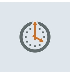 Gray-orange Clock Round Icon vector image
