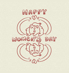 Happy international womens day nature care doodle vector