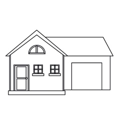 House modern style with garage outline vector