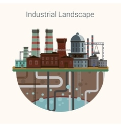 Industrial factory buildings set in flat design vector image