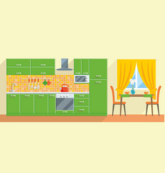 Kitchen modern interior and furniture vector