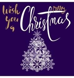 Merry christmas handeritten lettering design gold vector