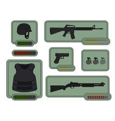 Military weapons icons game resources vector