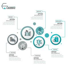 Modern infographic design layout 6 round elements vector