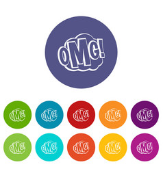 omg comic text speech bubble icons set vector image