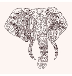 Patterned elephant zentangle style vector image vector image