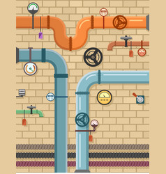 Pipeline on plumbing concept background vector