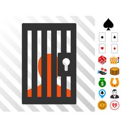 Prison door icon with bonus vector