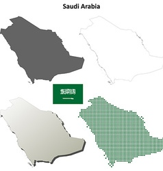 Saudi arabia outline map set vector
