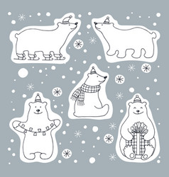 Set of icons of polar bears vector