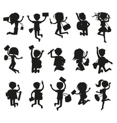 silhouettes of happy excited jumping students vector image vector image