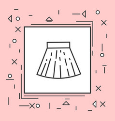 Skirt mini icon thin line in pink frame vector