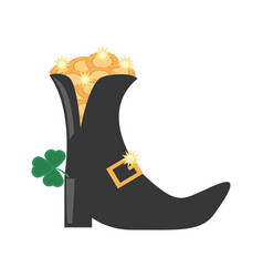 st patricks day boot clover gold coin vector image