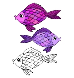 Stylized hand drawn fish 2 vector image