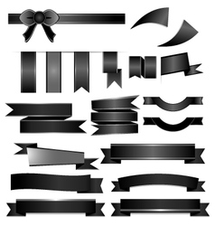 Black ribbons set isolated on white background vector image