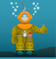 Diver in an old suit and scuba diving helmet vector