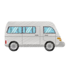 drawing van transport vehicle urban vector image