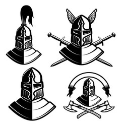 Set of knight helmets with swords axes design vector
