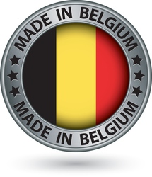 Made in Belgium silver label with flag vector image