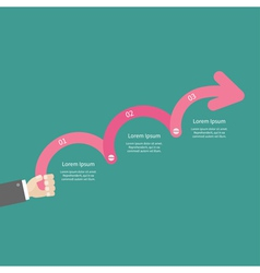 Businessman hand holding three step pink upwards vector
