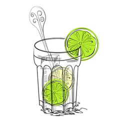 A glass of water with lime vector