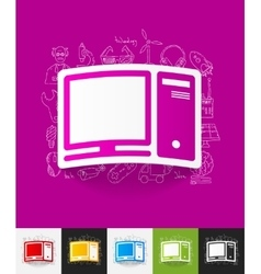 Computer paper sticker with hand drawn elements vector