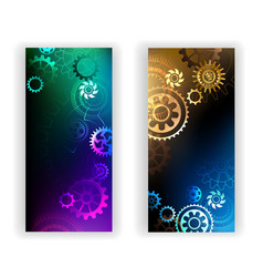 Banners with colorful gears vector