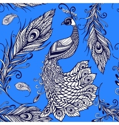Peacock bird feathers seamless background pattern vector