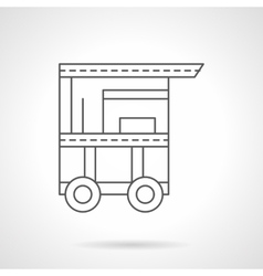 Cart of hot dog flat thin line icon vector