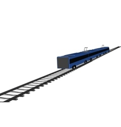 Blue fast train on white vector