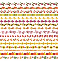 Autumn border patterns vector