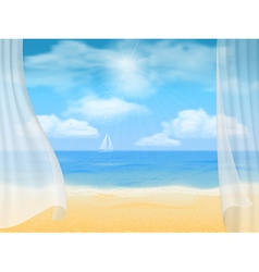 beach and curtains vector image vector image