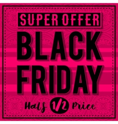 Black friday sale banner on patterned pink backgro vector image vector image