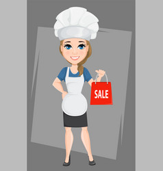 Chef woman holding paper bag for sale cute vector