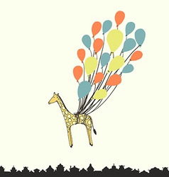 Cute hand drawn giraffe flying on the balloons - vector