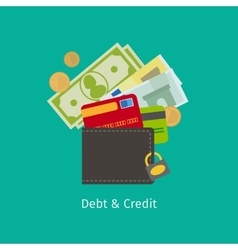 Debt and Credit cartoon vector image vector image