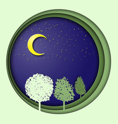 Earth day 3d with trees in the night vector