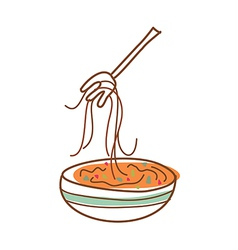 Eating noodle vector
