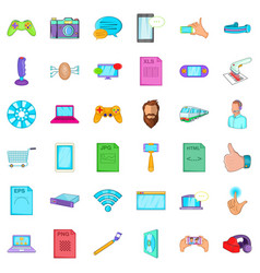 Game app icons set cartoon style vector