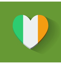 Heart-shaped icon with flag of ireland vector