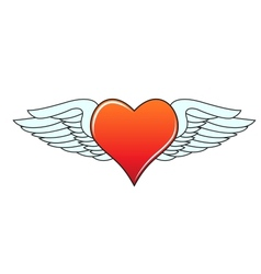 Heart with angelic wings vector image vector image