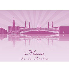 Mecca skyline in purple radiant orchid vector image vector image
