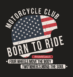 motorcycle t-shirt graphics helmet with usa flag vector image vector image